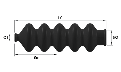 Rysunek techniczny - Mieszki gumowe