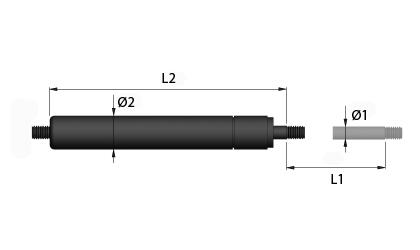 Rysunek techniczny - Sprężyna gazowa trakcyjna